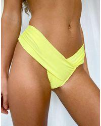 Missguided Crinkle Bikini Bottoms - Yellow
