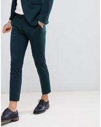 Jack & Jones Pantalones de traje de corte slim en tejido elástico - Verde