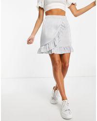 Lola May Ruffle Wrap Front Mini Skirt - Grey