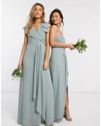 TFNC London Bridesmaid Flutter Sleeve Ruffle Detail Maxi Dress - Blue
