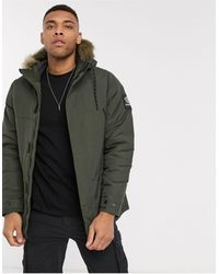 Pull&Bear Parka Jacket With Faux Fur Hood - Green