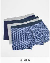 New Look Набор Из 3 Боксеров-брифов -серый - Синий