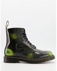 Dr. Martens Черно-зеленые Кожаные Ботинки С 8 Парами Люверсов 1460-зеленый Цвет