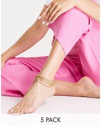 ASOS - Набор Из 5 Золотистых Браслетов На Ногу С Навесным Замочком И Цепочками Различного Дизайна - Lyst