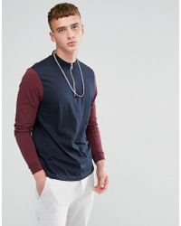 ASOS DESIGN - Asos Relaxed Contrast Long Sleeve T-shirt With Zip Turtle Neck - Lyst