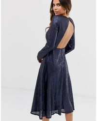 TFNC London Long Sleeve Fit And Flare Sequin Midi Dress - Blue