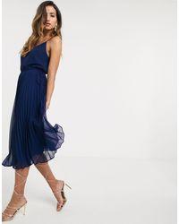 ASOS Pleated Cami Midi Dress With Drawstring Waist - Blue