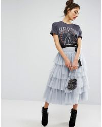 ASOS | Tulle Midi Prom Skirt With Tiers And Tie Waist | Lyst