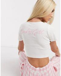 ASOS – Baby Mädchen – Geripptes Pyjama-Oberteil - Weiß