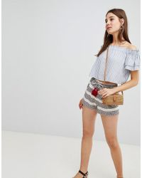 New Look - Stripe Jacquard Tassel Shorts - Lyst