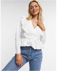 ASOS Cotton Wrap Top With Ruffle Detail - White