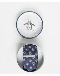 Original Penguin Tie & Tie Bar Set - Blue