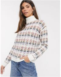 Esprit High Neck Knitted Sweater - White