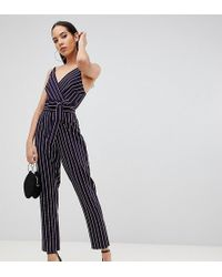 5b96503b0e1 ASOS - Asos Design Tall Wrap Jumpsuit With Self Belt In Navy Stripe - Lyst