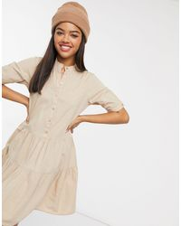 Vero Moda Smock Dress With Button Front - Natural