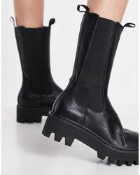 LAMODA Chunky High Ankle Boots - Black