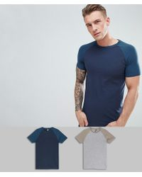 ASOS - Design Muscle Raglan T-shirt With Contrast Sleeves 2 Pack Save - Lyst
