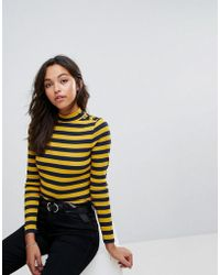 Esprit - Step Neck Striped Long Sleeve Top With Button Detail - Lyst