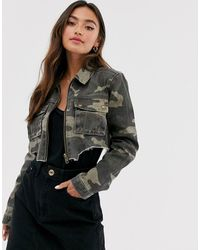 Glamorous Cropped Denim Jacket In Camo - Multicolour