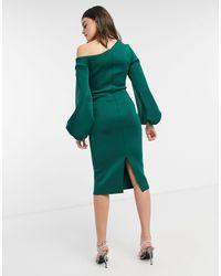 ASOS Темно-зеленое Платье Миди Со Спущенным Плечом И Объемными Рукавами - Зеленый