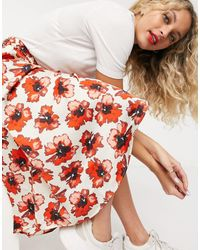 Soaked In Luxury Floral Satin Wrap Skirt - Red