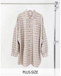 Collusion - Платье-рубашка В Клетку С Пышными Рукавами Plus-мульти - Lyst