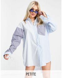 Missguided Vestito camicia oversize blu a righe miste