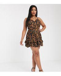 Boohoo Belted Mini Dress In Leopard Print - Brown