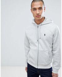 Polo Ralph Lauren - Player Logo Full Zip Hoodie In Grey Marl - Lyst