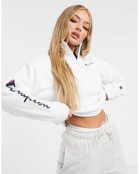 Champion Felpa con zip corta bianca - Bianco