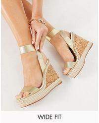 ASOS Wide Fit Tiffany Elastic Cork Wedges - Metallic