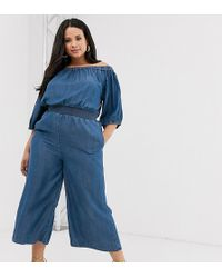 Simply Be Bardot Jumpsuit With Shirred Waist In Blue