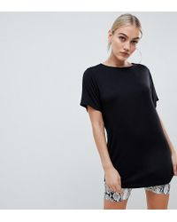 Boohoo Basic Long Line T-shirt Dress In Black