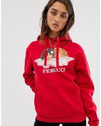 Fiorucci Felpa con cappuccio e angeli vintage rossa - Rosso