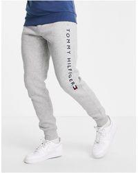 Tommy Hilfiger Joggers grigio medio mélange con fondo elasticizzato e logo