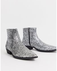 ASOS Stacked Heel Western Chelsea Boots In Silver Glitter - Metallic