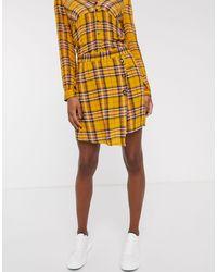 Vila - Check Wrap Skirt-multi - Lyst