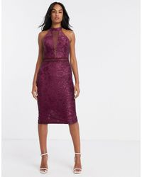 AX Paris - Бордовое Платье Миди С Глубоким Вырезом И Кружевом -фиолетовый - Lyst