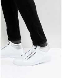 Versace Jeans - High Top Trainers In White With Badge Logo - Lyst