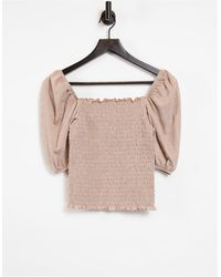ONLY Shirred Top With Puff Sleeve - Multicolour