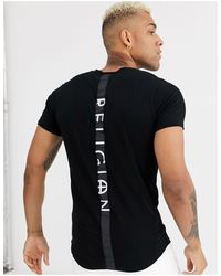 Religion Curved Hem T-shirt With Back Taping - Black