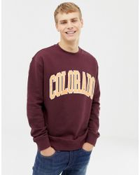New Look Sweat With Colorado Print In Burgundy - Red