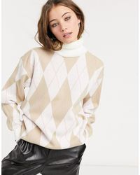 In The Style X Olivia Bowen High-neck Oversized Knitted Sweater - Natural