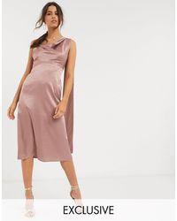 Flounce London Satin Midi Dress With Drape Back - Pink