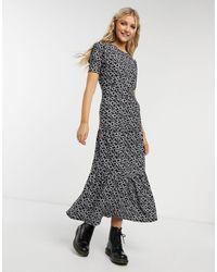 TOPSHOP Ярусное Платье С Цветочным Принтом -черный