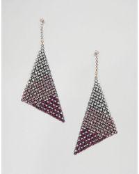 ASOS DESIGN - Earrings In Ombre Crystal Chainmail Design - Lyst