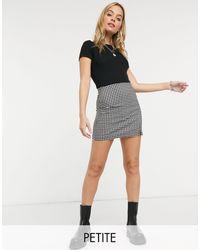 TOPSHOP Petite Gingham Bengaline Mini Skirt - Black