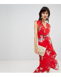 Warehouse - Midi Dress With Ruffle Detail In Floral Print - Lyst