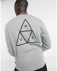 Huf Essentials - sweat-shirt à imprimé trois triangles - Gris