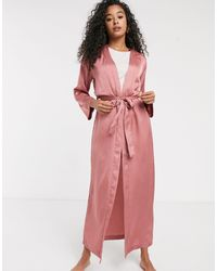 Women'secret Embroidered Stars Satin Maxi Robe - Pink